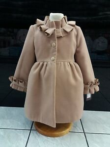 BNWT girls  lined winter spanish coat in tan frill collar and cuff fit 3 yrs