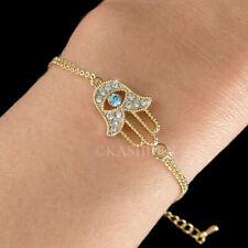 Mano de Hamsa Azul Evil Eye Con Cristal Swarovski Judío Fátima Oro Pulsera
