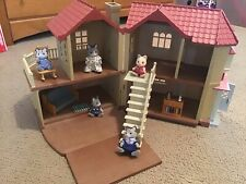 Calico Critters Luxury Townhome with Family + Working Lights - Used - In Box