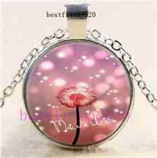 Make a Wish Dandelion Cabochon Glass Dome Silver Chain Pendant Necklace