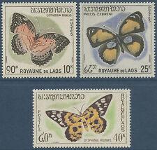 LAOS N°106/107* +108** (MNH) gomme tropicale Papillons TB 1965, butterflies
