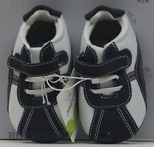 Jumping Beans White & Navy Blue Crib Slip On Sneaker Toddler Shoes Size 3 NWT
