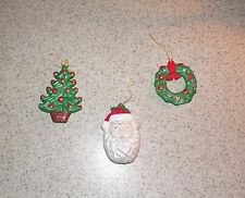 LOT OF 3 VINTAGE HAND PAINTED CERAMIC CHRISTMAS ORNAMENTS w old string hangers