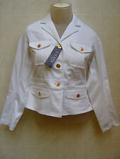 Chaps Womens Flare Jacket Coat Canvas Jean Gold Button Cargo White PS Small $100