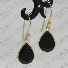 18K Gold Sterling Silver Black Onyx Teardrop Dangle Earrings Gemstones Tear Drop