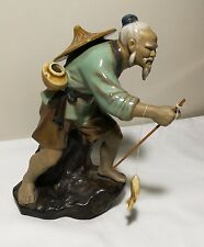 Hand made porcelain Fishing Man statue Made in China Marked