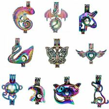 New 10PCS Rainbow Pearl Cage Pendants For Akoya Oyster Pearl Party Wish Gifts