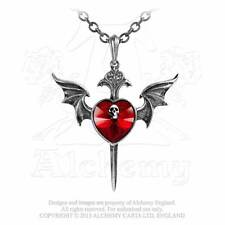 NEW Alchemy Gothic DEATH OF A VAMPIRE Red Swarovski Bat Pendant Necklace P723