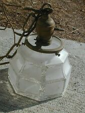 1910 decorative Frosted glass hanging light 36 in drop brass cap  to be rewired
