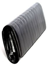 Lee Sands Medium Black Eelskin Flap Front Clutch Purse