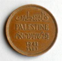 Israel Palestine British Mandate 1 Mil 1941 Bronze Coin XF