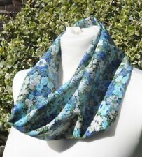 Cowl/Snood infinity scarf in Liberty tana lawn 'Thorpe' blue green ivory flowers