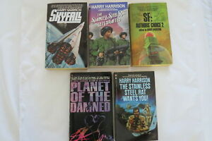 Harry Harrison 5 BOOKS SIGNED BY AUTHOR Stainless Steel Rat Wants You & More
