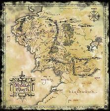 Cartel – Estilo Vintage Mapa De Tierra Media (El Señor De Los Anillos Dvd Blu-ray de cine)