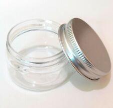 30ml  New Empty PET Jars Aluminum Lids Clear Silver Plastic Cosmetic