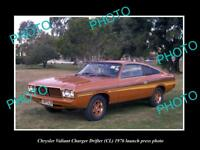 OLD LARGE HISTORIC PHOTO OF 1976 CL CHRYSLER VALIANT CHARGER DRIFTER PRESS PHOTO