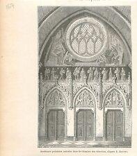 Kamer Chambre des Échevins de Tournai par Boutry GRAVURE ANTIQUE OLD PRINT 1880