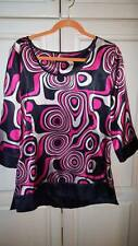 Bentley A. Top Shirt Blouse Funky Retro Swirly Swirl Print $110 New