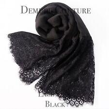 Lace Hijab Scarf Plain Cotton Shawl Sarong Wrap Cape Big Large Maxi