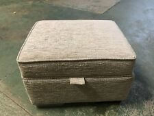 LARGE  STORAGE FOOTSTOOL/DUCK EGG TEXTURED CHENILLE FABRIC/ 18cmDARK WOOD FEET