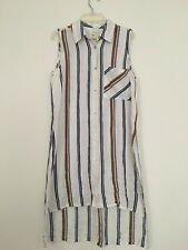 O'Neill Maryana  long striped  sleeveless blouse in White/Navy/Brown S