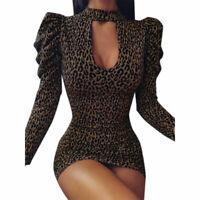 Autumn Women Low-Cut Slim Puff Sleeve Mini Dress Female Leopard Print Dress