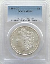 1884-CC Estados Unidos $1 un dólar Morgan plata moneda PCGS MS64 Carson City