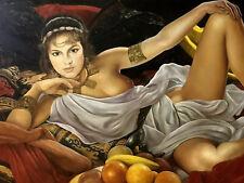 Quadro dipinto olio su tela firmato nudo di donna femminile stile antico 900