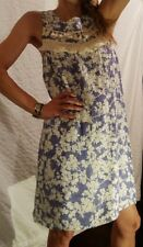 New KENSIE Blue & White Floral Sleeveless Short Dress Zipper Women's M Medium