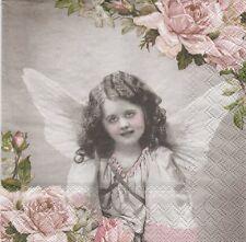 2 Serviettes en papier Ange et Roses - Paper Napkins Angel