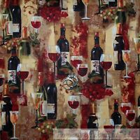 WINE BOTTLES GLASSES TUSCANY MAP NATURAL COTTON FABRIC 11 1//2 INCH SCRAP CUT