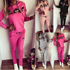 Damen Affe Trainingsanzug Jogginganzug Sports Hausanzug Fitness Jogginghosen Set