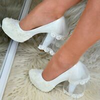 Ladies Bridal Shoes with Veil Floral Satin Wedding High Heel Pumps Court Shoes