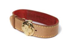 Auth LOUIS VUITTON Monogram Brown Leather Bracelet LA12734L