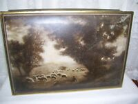 Antique Uneeda Biscuit Hinged Tin Box of Sheep in Pasture