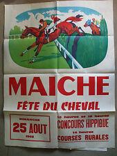 affiche ancienne 1968 equitation hippisme fete du  cheval Maiche doubs hippique