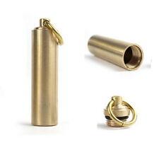 2 x Pill Box Case Bottle Holder Brass Container Keychain Medicine Capsule