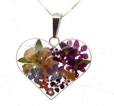Fj103 Donna 925 Argento Ciondolo con veri fiori a forma di cuore con Pansy 114199