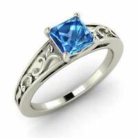 Certified Princess Cut Natural Blue Topaz Vintage 14k White Gold Engagement Ring