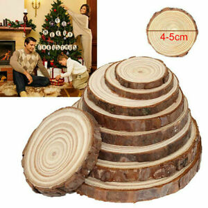 30Pcs Wood Slices Round Discs Tree Bark Log Wooden Circles 4-5CM DIY Crafts