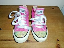 Converse Low Rise Canvas Sneakers/ Shoes- Pink With Ribbon Laces Rhinestone Toe