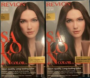 (Pack of 2) Revlon Salon Color Booster kit, Permanent Hair Color 4 DARK BROWN
