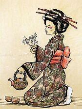 TEA CEREMONY JAPANESE GEISHA TEAPOT CHERRY BLOSSOM ART PRINT POSTER BMP1244A