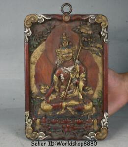 """9"""" Antique Old Tibet Wood Painting 7 eyes White Tara Goddess thangka Wall Hang"""