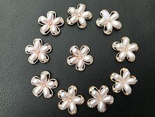 10 Crystal Pearl Gold Metal Flower Button Brooches DIY Wedding Embelishment 25mm