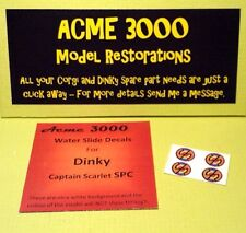 Gerry Anderson capitaine Scarlet repro DINKY SPC 103 Water Slide Decal Transfers