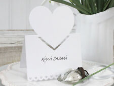 10 SHABBY CHIC  ANTIQUE VINTAGE WHITE HEART WEDDING PLACE CARD HOLDER CHRISTMAS