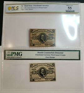3RD ISSUE 5C FRACTIONAL CURRENCY NOTES! W/U. RARE HEATH COUNTERFEIT PMG/PCGS 55