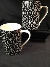 222 FIFTH EAST GATE Mugs/Set Of 2 - Black & White Geometric - Sale!