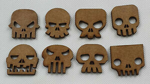 Card making SKULL shapes laser cut mdf hobby crafting project 16 pack, 30mm